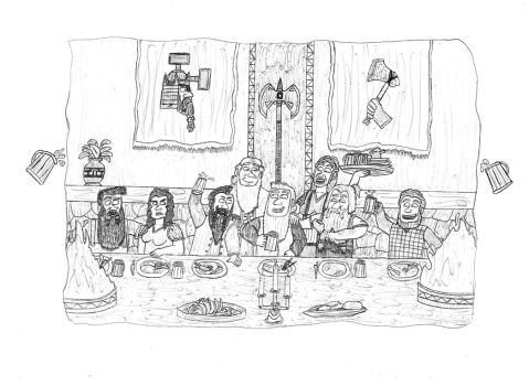 Nederantansie scenes 1: Bors with family. by Dwarf-Cartoonist