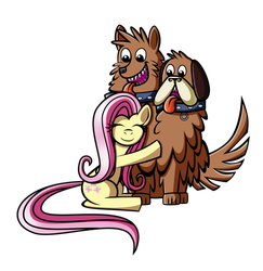 Fluttershy And Orthros by DarkenGales
