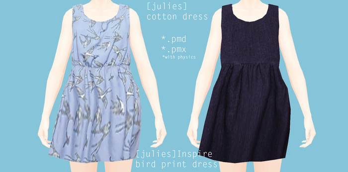 Inspire bird print dress and Cotton dress Download by Mari-Ichi