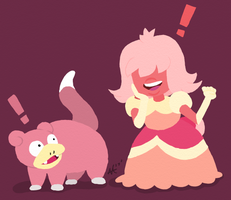Padparadscha Sapphy and her Slowpoke by ada242