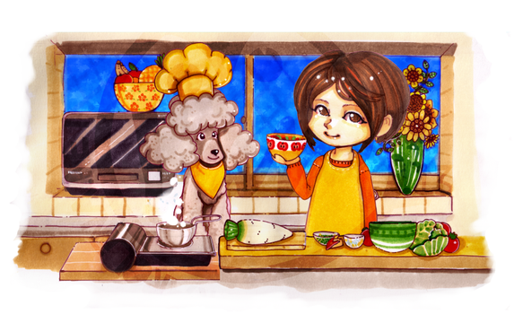 Comission: Cooking with dog by Landale