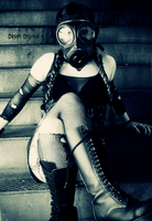 Girl On Stairs With Gas Mask by DreaMusiC
