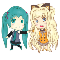 Chibi Hatsune Miku and SeeU from Vocaloid~ by jennerality