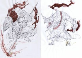 Lizard Warriors concepts - drawing by Brollonks