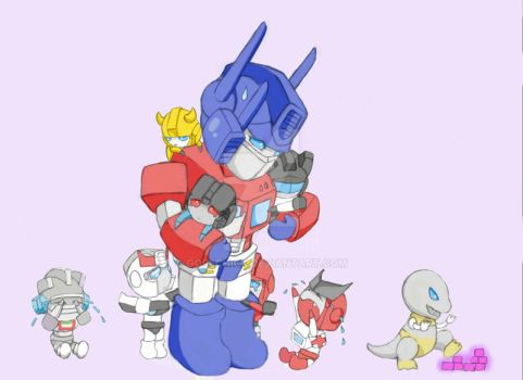 Optimus and chibis 2 by GoreChick