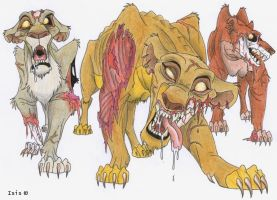 Zombie lionesses by IsisMasshiro