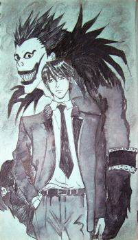 Light Yagami And Ryuk Shinigami by SiriEss