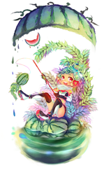 Fishing Melon with Melon Face by yune-d