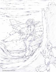 Space Girl And Wrecked Spaceship-Pencil by JesseThomas7800
