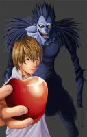 Light and Ryuk In Progress by insomniacvampire