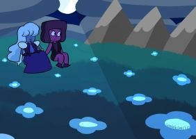 Ruby and Sapphire on Earth by WaddleDee125