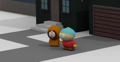 Cartman and Kenny in front of house by dvda92