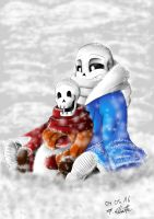 Snowy Day with Papyrus and Sans by Snilaze