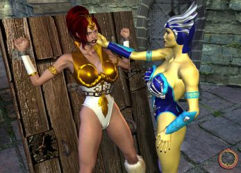 Evil-Lyn taunts Teela by Uroboros-Art
