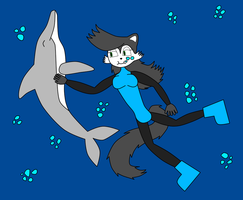 Hershey The Cat Petting Dolphin by NitroactiveStudios