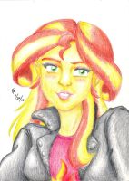 Portrait of Sunset Shimmer by mayorlight