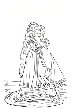Coloring Page: AnnaxRapunzel- Hug by CancerSyndromEdits