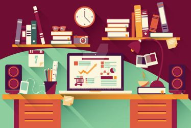 Flat Design Office Desk 03 by BlueLela