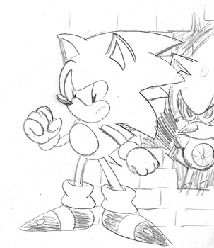 CD Sonic and Metal Sketch by ClassicSonicSatAm