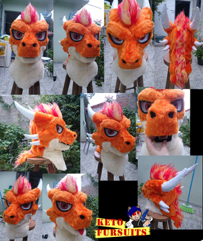 Commision - Ember head fursuit by Keto-Schneider