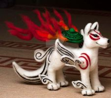 Large Okami Needle Felted Plush by The-GoblinQueen