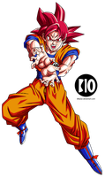 Goku SSJ Dios DBS Dokkan Battle Render by BillyZar