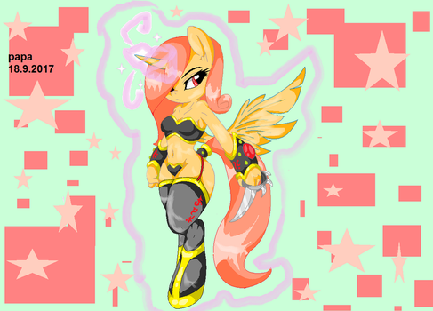 MLP OC Base : sexy armor by papaii123