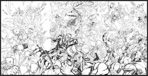 Marvel Characters 3-page spread commission by MartinDunn