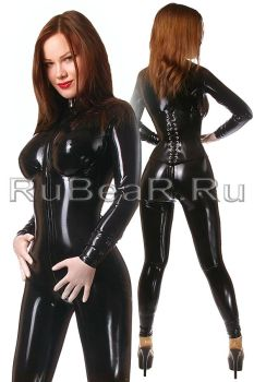 SISSY latex catsuit with installed silicone breast by latex-rat