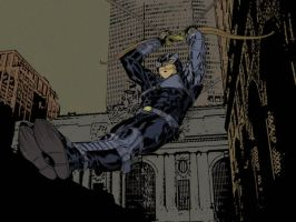 Hawkeye bowslides downtown by SpiderGuile