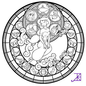 Jasmine Stained Glass -line art- by Akili-Amethyst