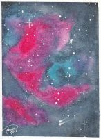 Galaxy Painting - Pink and blue by Saruke