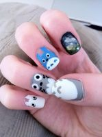 Totoro Nails #1 by lulutetium