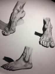 Charcoal Study - Feet Practice by Nymera-Nicole