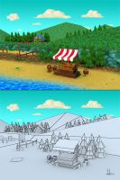 Market at the beach by bananamannen