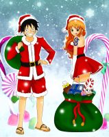 Merry Xmas Luffy x Nami fanart by orange-star-destiny