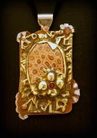 Chased Petoskey Pendant by CosmicFolklore