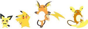 Pichu, Pikachu and Raichu Base by SelenaEde