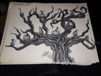 pumpkin tree inktober 13 by somechick73