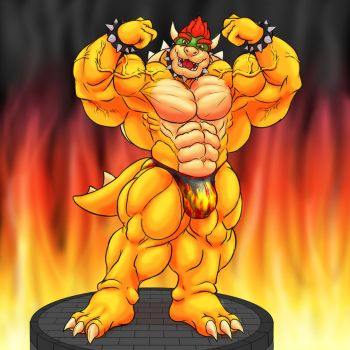 Anthro Muscle - Bowser Koopa, Powered up! by YourInnerBeast