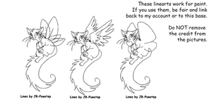 Cat Wings - Lineart for Paint by JB-Pawstep