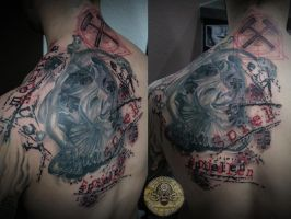Jester cover up letter trash polka style by 2Face-Tattoo