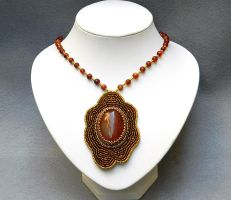 Bead embroidery dazzling statement necklace by YANKA-arts-n-crafts