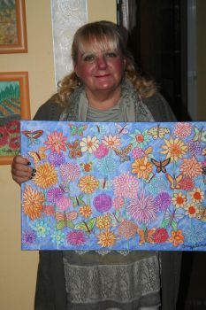 Ingeline and her painting with dahlias by ingeline-art