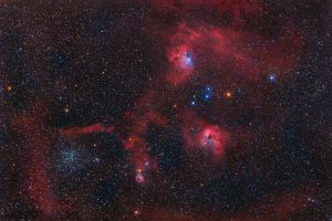 The Flaming Star nebula, Tadpole Nebula and M38 by Captain-Marmote