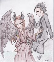 Maleficent and Diaval by Paper-Doll89