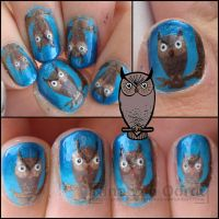 Owl nails by Ninails