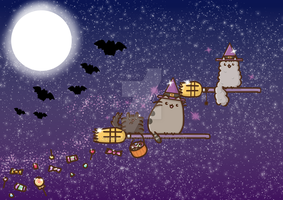 Pusheen witches by ZeroFaded