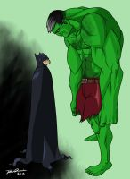 Batsy V Hulk by MangleDangle
