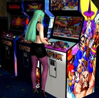 Morrigan in arcades by RyuAensland